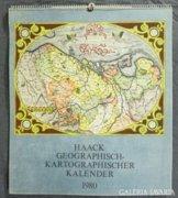 8296 1980-as falinaptár antik térkép másolatokkal