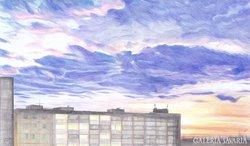 LAdrián: Város - naplemente (egyedi grafika)