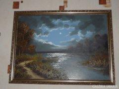 Holdfény A Tavon Tájkép Olaj Vászon Festmény Szignózott
