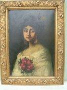 Antik Portré MÜLLER MÉLA Olajfestmény /Önarckép/ 1879-1933