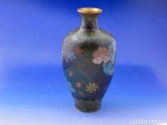 8477 Antik keleti pillangós tűzzománc váza