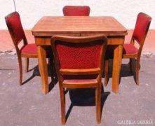 6588 Régi art deco asztal + 4 db szék garnitúra