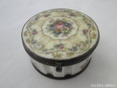 6348 Antik porcelán szelence fém karimával