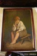 Gyerekpár olaj-karton festmény