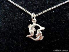 Ezüst dupla Delfin medál és ezüst lánc 925