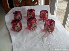 Kézzel festett aranyozott pálinkás poharak