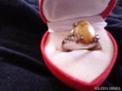 Antik ezüstözött bronz gyűrű.