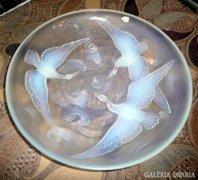 Szecessziós Verlys üveg tál vízijelenettel