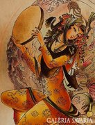 Bőrre festett táncosnő, mozgalmas