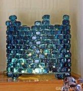 Kék üvegkockákból lámpa - blue art glass lamp with LED