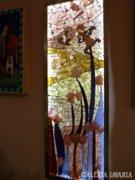Piszkátor Ildikó:A Lélek virágos kertje-üvegmozaik kép,lámpa