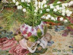 WPM Eredeti hortenzia formájú angyalkás porcelán