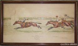 Lóverseny-jelenet a századfordulóról, akvarell