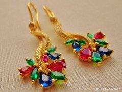 Nagyon szép aranyozott ezüstfülbevaló rubin,zafír,smaragd