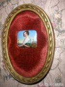 Antik miniatűr festett porcelán, portré