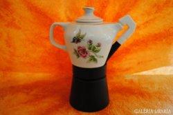 Hollóházi  porcelán  Hortenzia mintás kávé főző