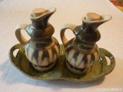 Ecet és olaj-kiöntők tálkával,szentendrei keramikustól (41)