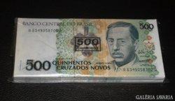 100db,SORSZÁMKÖVETŐ BRAZIL 500 CRUZ UNC BANKJEGY KÖTEG RITKA