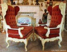 Gyönyörű ritka velencei barokk füles fotel pár
