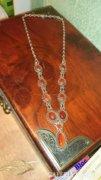 Ezüst nyaklánc, nyakék karneol kövekkel