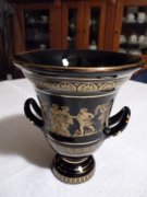 Fekete-arany görög jelenetes üveg kehely, kínáló