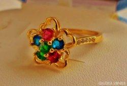 Nagyon szép aranyozott ezüstgyűrű rubin,zafír,smaragd
