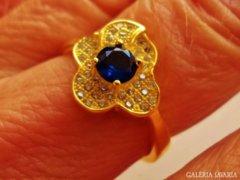 Nagyon szép aranyozott zafírköves ezüstgyűrű