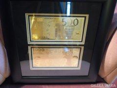 500 + 1000 EURO 24 Kt ARANY BANKJEGY,BANKJEGYEK