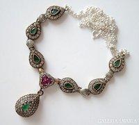 Autentikus török nyakék szép smaragd és topázkövekkel