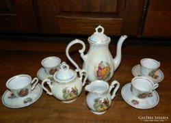 Zajecar barokk jelenetes jugoszláv kávés készlet 4személyes