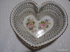 Gyönyörű, kézzel festett porcelán SZÍV alakú asztalközép(44)