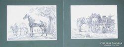 Johann Adam Klein (1795-1875): Lovas témájú metszetek
