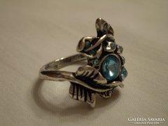 Régi ezüstözött köves gyűrű