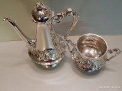 Szecessziós ezüst kávékiöntő és cukortartó