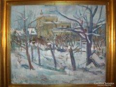 Vályi Csaba jelzéssel:Téli táj  c. festmény