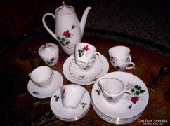 21 db-s teás,- rózsabimbós- süteményes készlet
