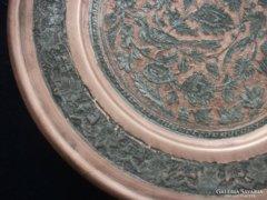 Perzsa-Quajar-ezüst berakásos-trébelt-poncolt nagy dísztál
