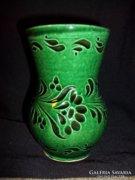 Zöld fekete mázas kerámia váza 14cm