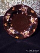 Városlődi majolika barna virágos falitányér 22cm