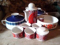 Art Deko kávéskészlet,+3 darab tálaló edény