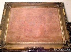 Óriási antik rokokó tűgobelin 128x102cm jelzett