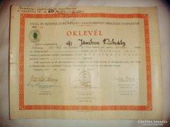 TÁNC OKLEVÉL és IRATOK Jámbor Mihály 1941.