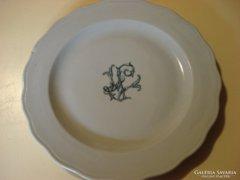 Régi Zsolnay porcelán monogramos tányér