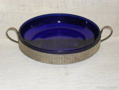 Kék üveg betétes asztali kínáló, asztal dísz  ( DBZ0036 )