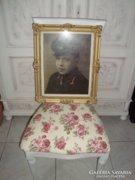 Antik festett katona portré ,kép blondel keretben