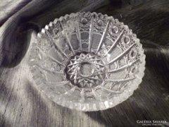 Gyönyörű metszéssel díszített kristály tál 14 cm