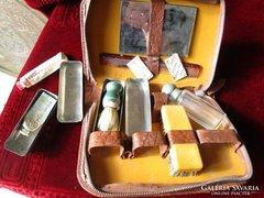 ART DECO férfi pipere bőr doboz eredeti tartalom