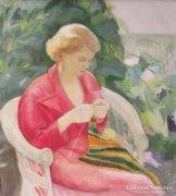 Udvary Dezső (1891-1975): Kötő nő a kertben