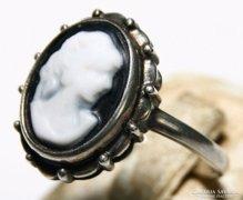 Régi Kámeás Sterling Ezüst Gyűrű Fémjel, Mesterjel