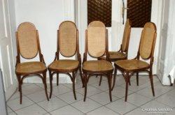 5db THONET stílusú szék, nádazás javítandó.